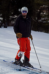 my husband skiing