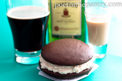 Guinness whoopie pies with Irish Cream filling