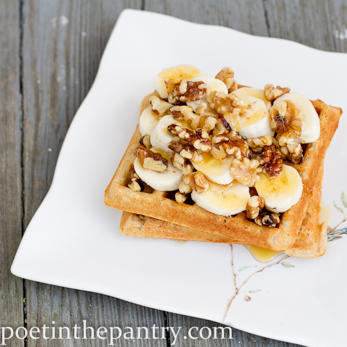 whole wheat waffles with banana, walnuts, and local honey