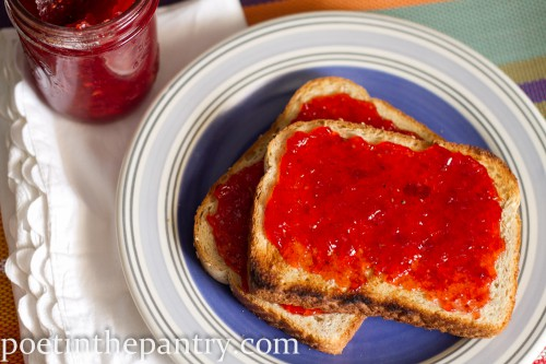 strawberry vanilla bean jam on toast