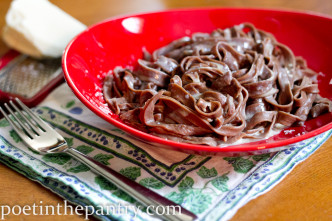 bowl of chocolate pasta