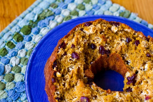 White Chocolate Cranberry Pumpkin Bundt Cake - poet in the pantry