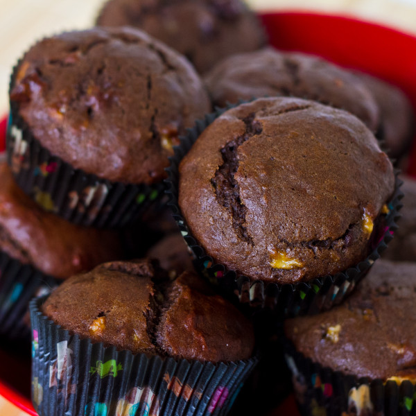 Chocolate Banana Peanut Butter Muffins