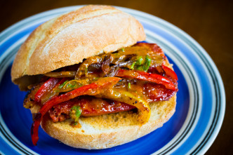 Chorizo and Sautéed Pepper Sandwich with Lemony Olive Oil-Cilantro Drizzle