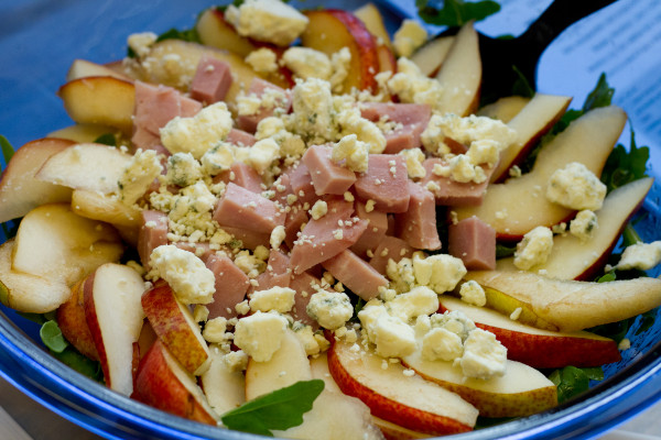 Arugula with Pears, Ham, Blue Cheese, Toasted Brioche, and Warm Fig Vinaigrette