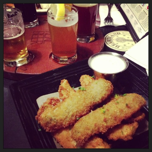 fried pickles and beer