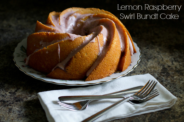 lemon raspberry swirl bundt cake