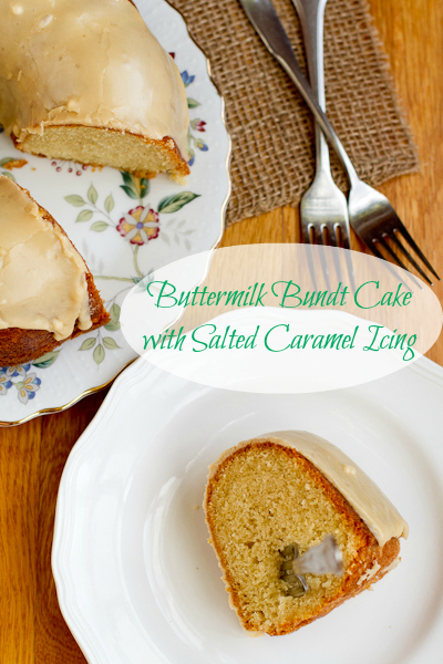 Buttermilk Bundt Cake with Salted Caramel Icing - poet in the pantry