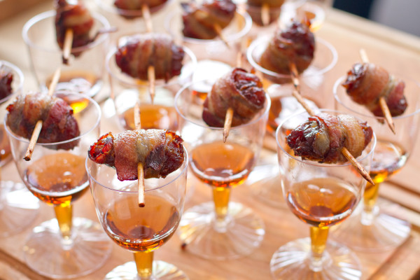 Bacon Wrapped Dates Stuffed with Blue Cheese and Sherry