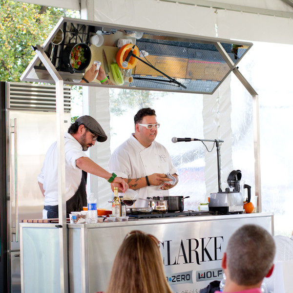 Merlin Verrier and Graham Elliot preparing pumpkin soup at the Greenwich Wine + Food Festival 2013 - poet in the pantry