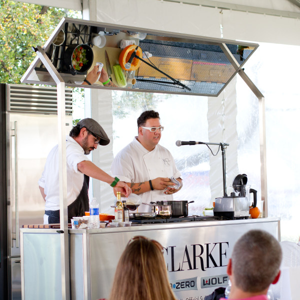 Merlin Verrier and Graham Elliot preparing pumpkin soup