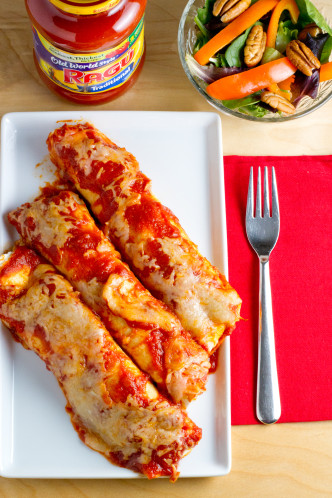 no-fry chicken parmesan enchiladas