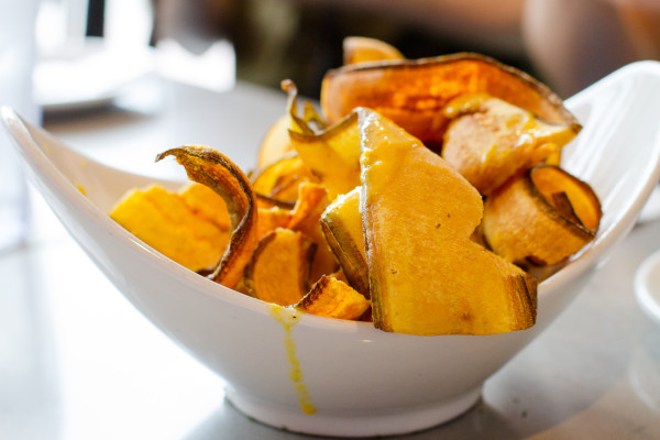 plantain chips with mustard sauce