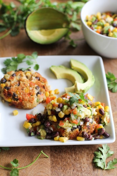 Southwest Veggie Burgers with Black Bean and Corn Salsa from The Roasted Root