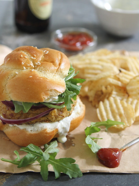 Spicy Bacon Chickpea Burgers from Running to the Kitchen