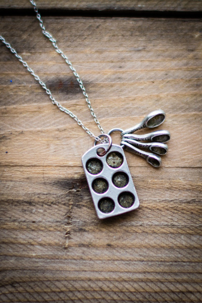 Cupcake Pan and Measuring Spoons Necklace from Penelope's Porch