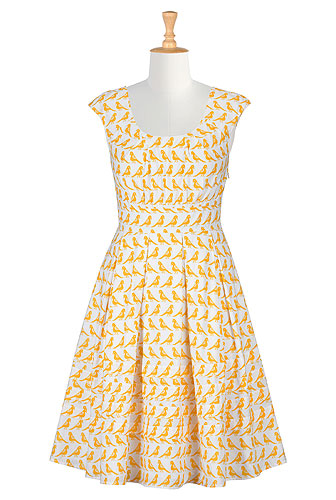 eShakti Pleat Neck Bird Print Dress