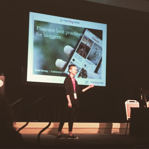 Enid Hwang discusses Pinterest best practices for bloggers at Food Blog Forum Orlando 2015