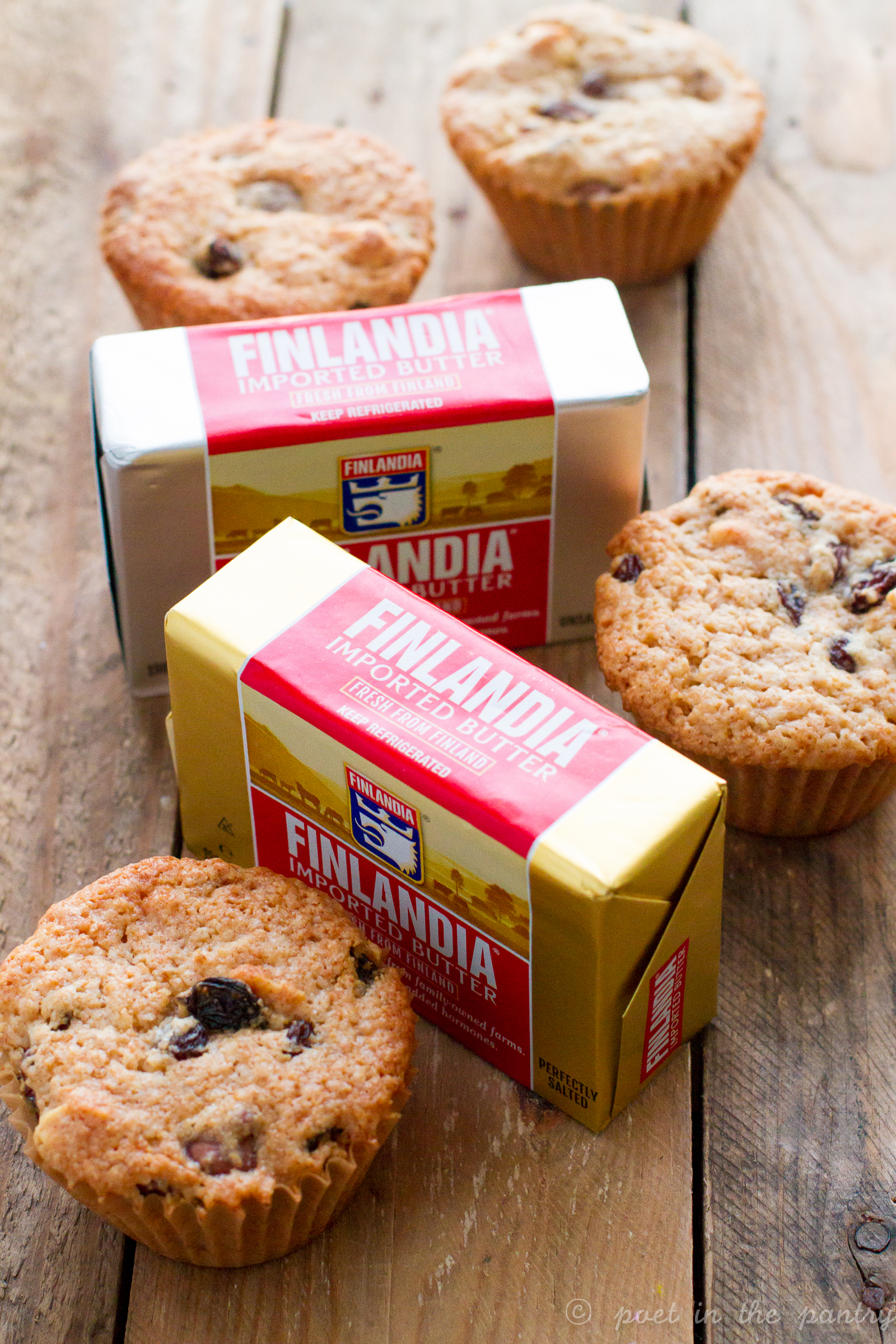 Finlandia Imported Butter is a premium butter made from humanely-treated cows raised on small Finnish family farms. Its rich and creamy taste is highly addictive! Try this new gourmet butter on your favorite baked goods, like these Candy Bar Muffins, and be wowed!