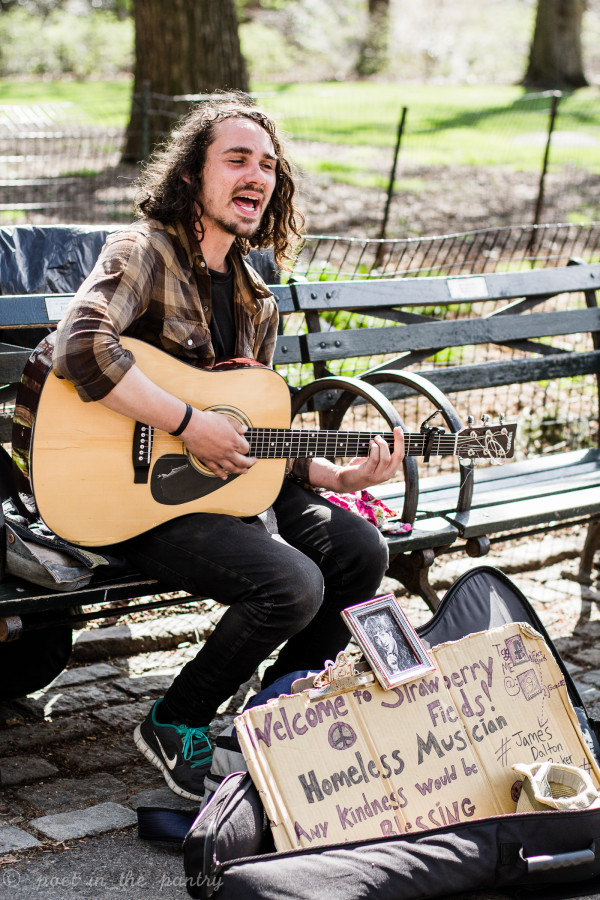 #jamesdaltonbaker sings in Strawberry Fields, Central Park, paying tribute to John Lennon's memory