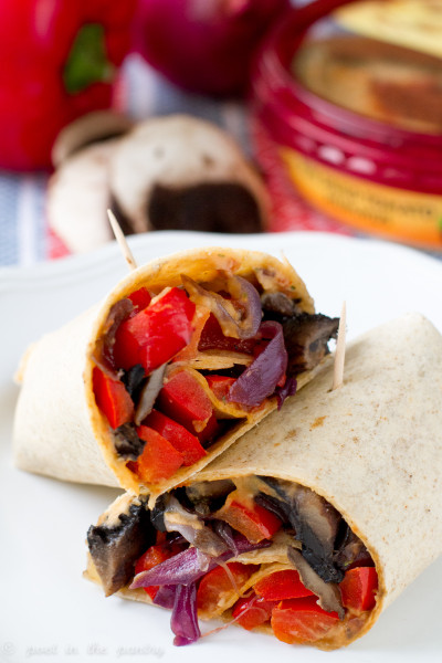 Roasted Vegetable Hummus Wraps from Poet in the Pantry, featuring Sabra hummus, are quick and easy! Fantastic for Meatless Mondays, or any time you want a fuss-free meal!