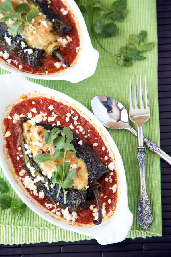 Skinny Roasted Shrimp Chile Rellenos ~ Apron Strings