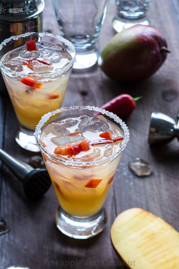 Spicy Chili Pepper Mango Margarita ~ Pineapple & Coconut
