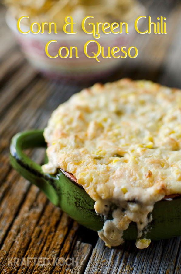 Corn and Green Chili Con Queso Dip ~ The Creative Bite