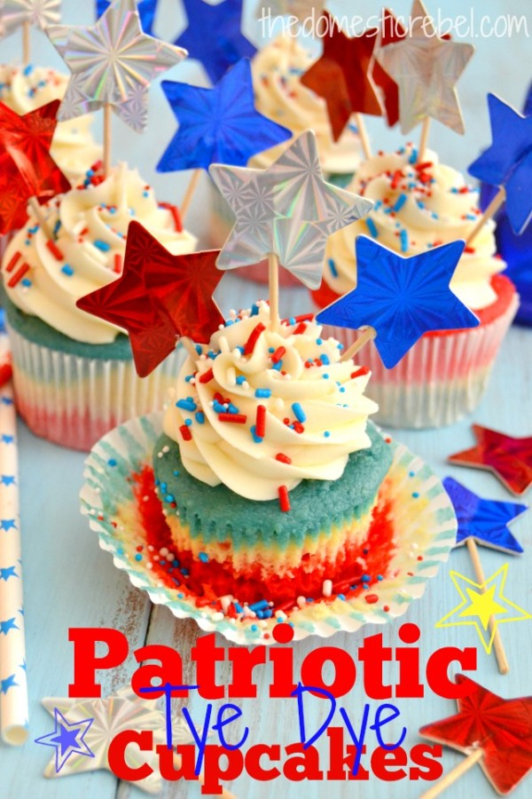 Patriotic Tye Dye Cupcakes from The Domestic Rebel