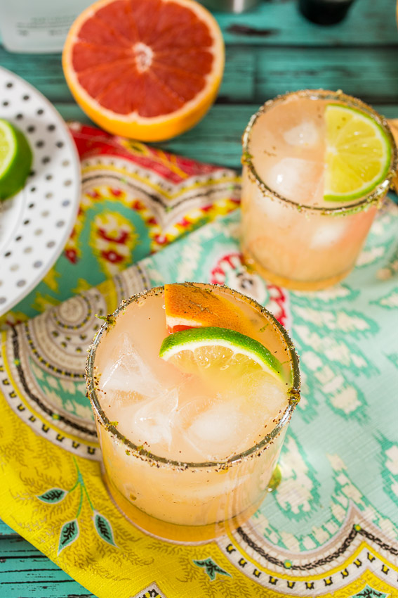 Grapefruit Margarita with Chili Lime Rim ~ The Girl in The Little Red Kitchen