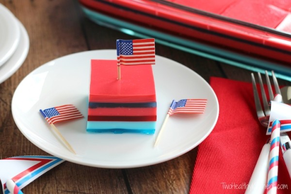 Layered Ribbon Jell-o Salad from Two Healthy Kitchens