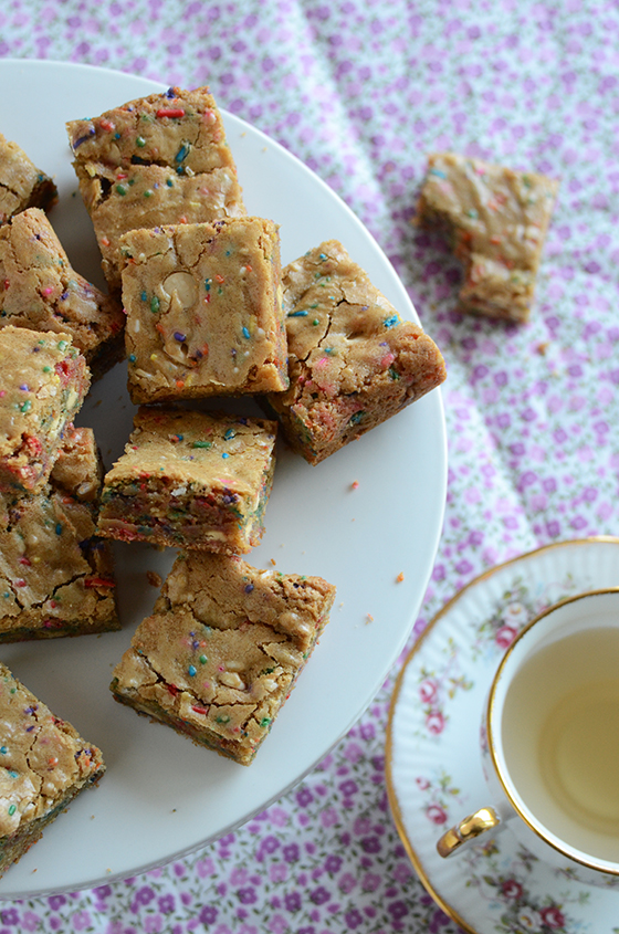 Funfetti Birthday Cake Batter Blondies from An Edible Mosaic
