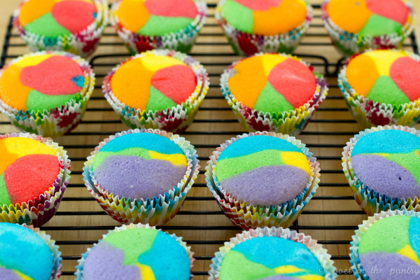 Tie dye cupcakes straight from the oven. Layering the colors in different order will give you a variety of results.