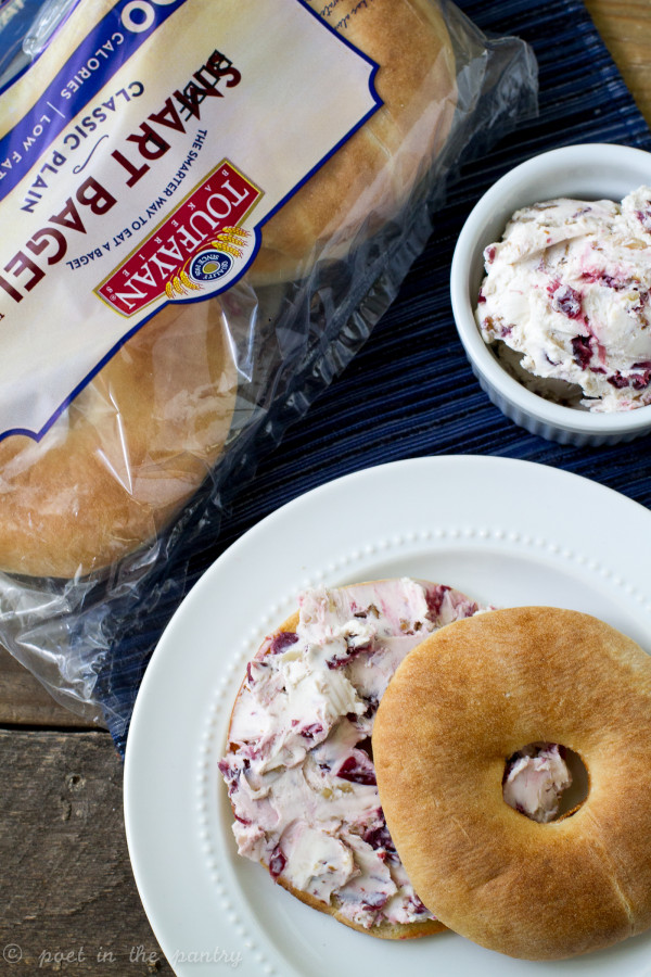 Cranberry Horseradish Cream Cheese with Walnuts is phenomanl spread on a Toufayan Bakeries Smart Bagel. Try it today!