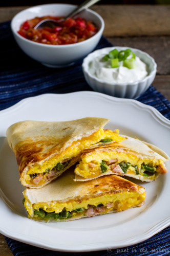 Jalapeño and Canadian Bacon Breakfast Quesadillas