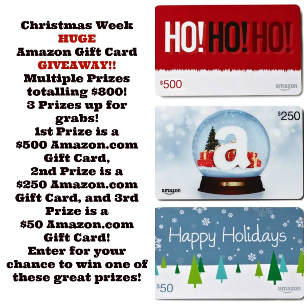 Our Christmas Week HUGE Amazon gift card GIVEAWAY will make 3 people's Christmases merry and bright! 3 prizes up for grabs, including a $500 Amazon.com gift card, $250 Amazon.com gift card, and $50 Amazon.com gift card! Open to residents of the U.S. and Canada!!!!