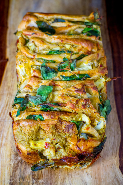Spinach and Artichoke Hummus Pull Apart Bread is an easy appetizer that your guests will love! #sponsored