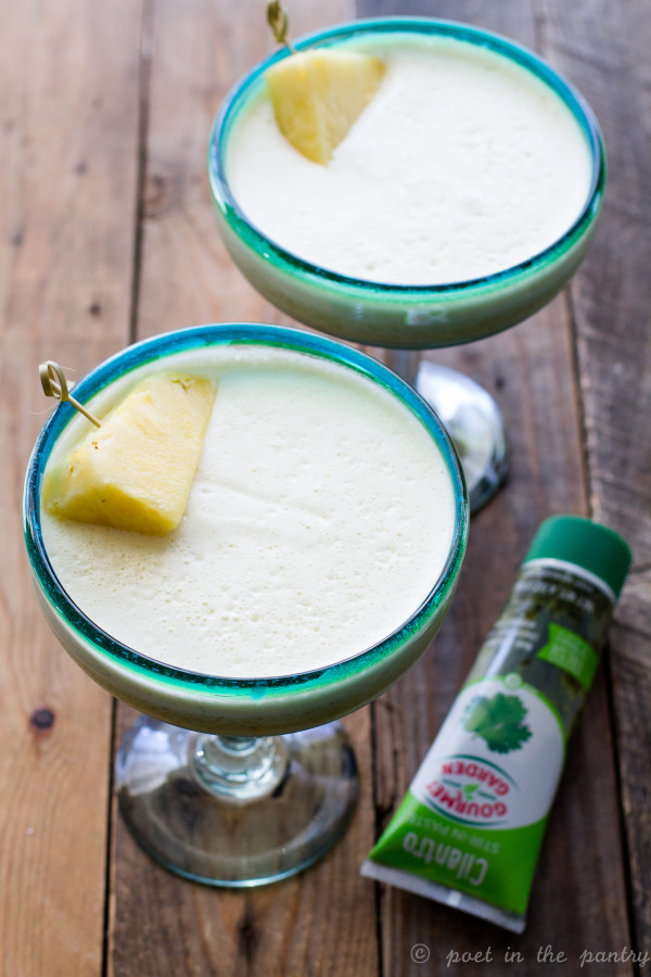 Part smoothie/part frozen cocktail, this Pineapple Cilantro Margarita is a refreshing way to toast the end of the day! {this is a sponsored post}