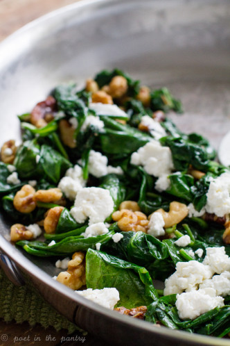 Wilted Spinach with Walnuts and Goat Cheese is a quick and easy side dish that elevates the entire meal! {sponsored post} #wolfgourmet