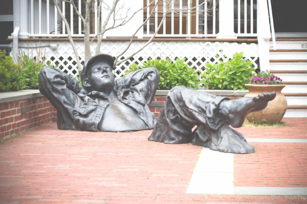"David Phelps's ""Pastoral Dreamer"" takes a break outside of the Eisenhauer Gallery at Vineyard Square in Edgartown, MA. {sponsored post}"
