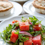 What's the perfect companion for a Blake's All Natural Foods Beef or Turkey Pot Pie? Watermelon Salad, of course! They're a perfect pairing for bringing summer and winter together in an easy dinner tonight! {sponsored post}