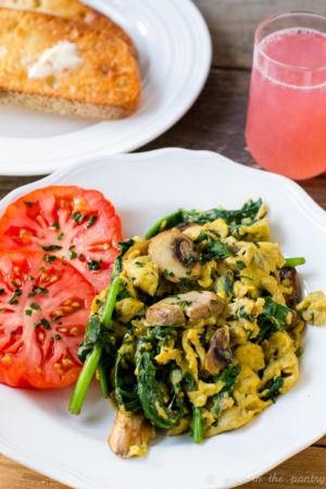 Scrambled Eggs with Cheese, Basil, Spinach and Mushrooms