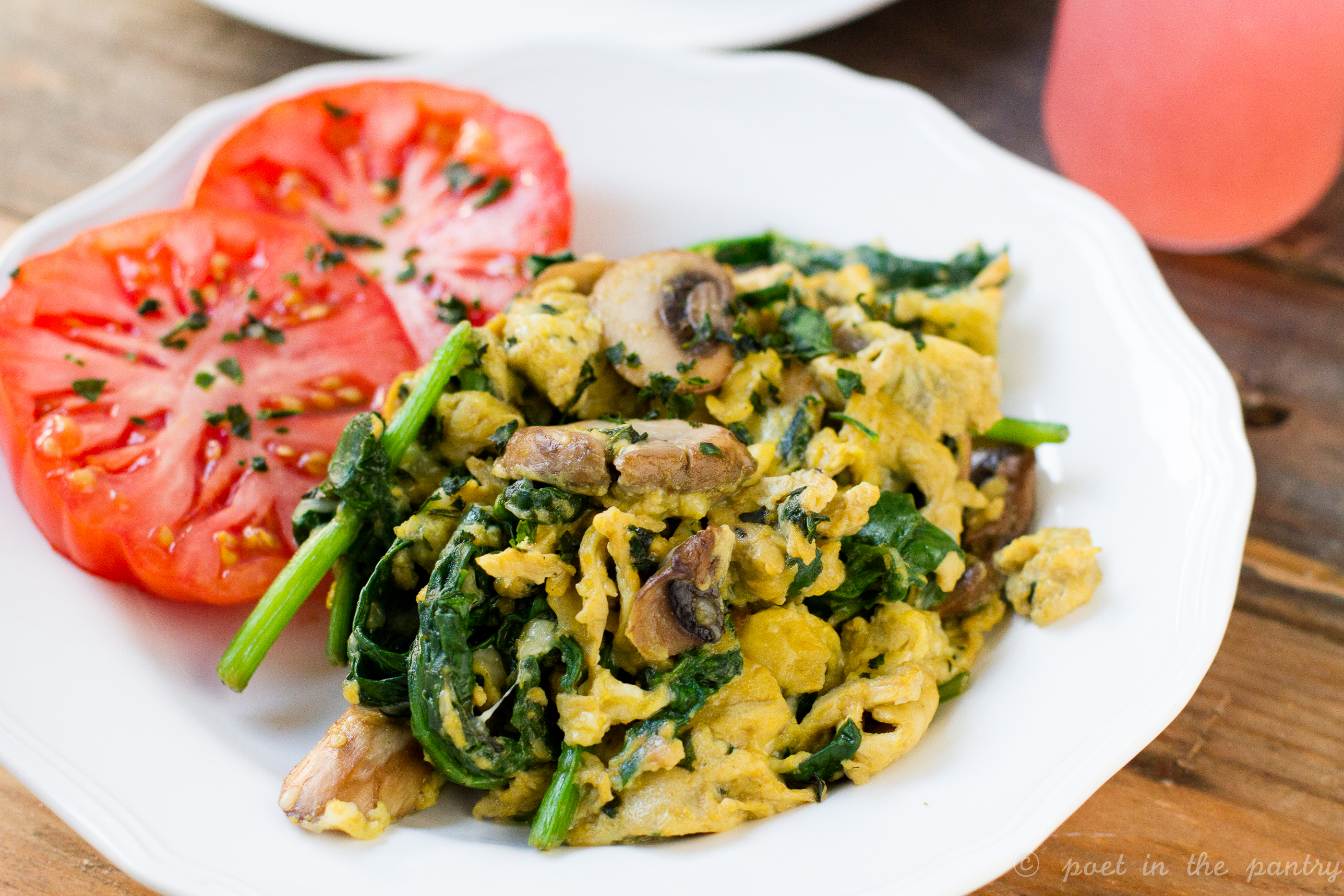 Scrambled Eggs With Cheese Basil Spinach And Mushrooms Poet In The Pantry