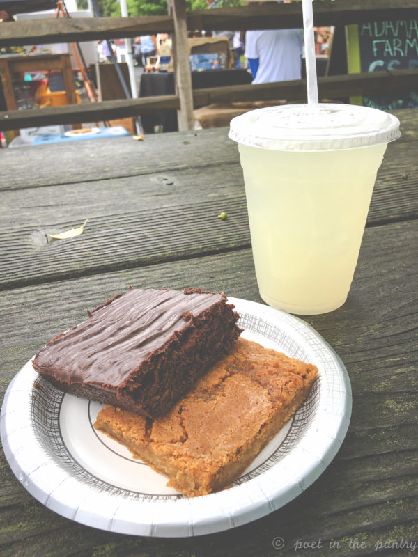 Salted Maple Caramel Blondie and Guinness Brownie with an Agave Ginger Lemonade from AmandaBakes