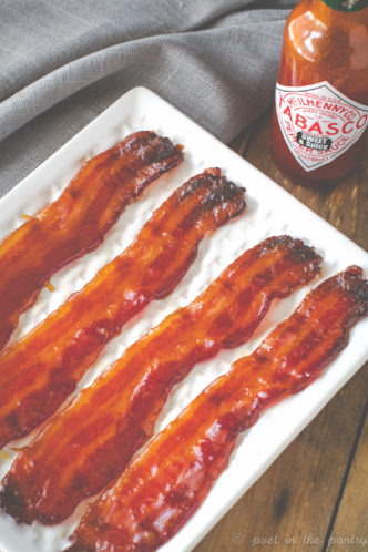 Sweet and Spicy Bacon is a version of pig candy featuring a kick from TABASCO Sweet & Spicy Sauce. Elevate your pig candy! {sponsored post}