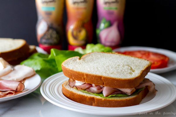 Honey Mustard Hummus Chicken and Ham Sandwich {sponsored post} @poetinthepantry