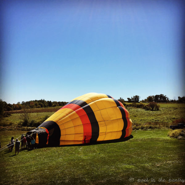 A hot air balloon at South Farms in Morris was a pleasant surprise at the Morris Marketplace on Sunday!