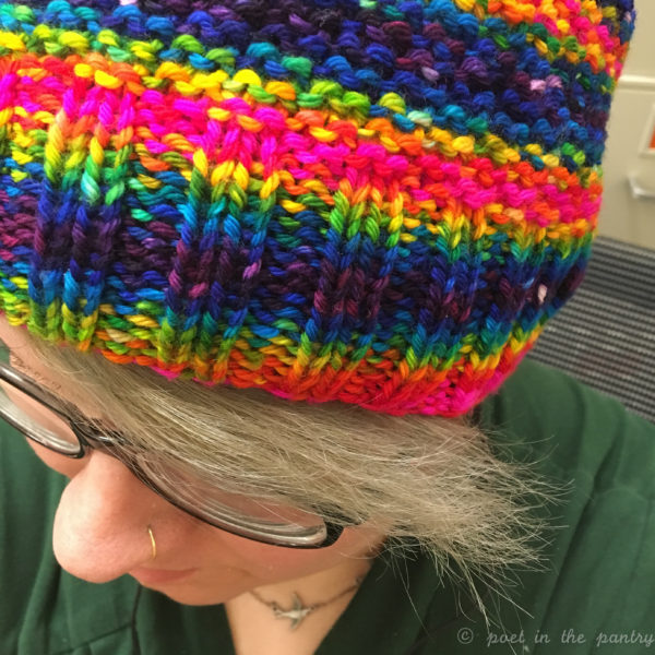 Knitting this hat with the Love is Love colorway yarn from KnittedWit definitely helped me deal during the last month.