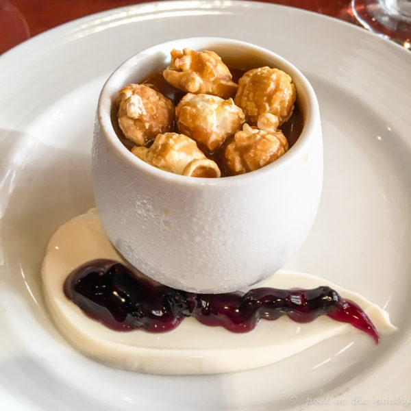 Buttered Popcorn Pots de Créme with Blackberry Jam on the Carnival Elation