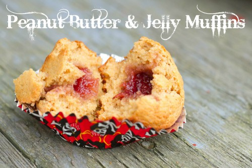 lone peanut butter and jelly muffin